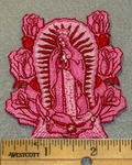 Our Lady Of Guadalupe - Pink Embroidery - Embroidery Patch