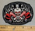 2041 N - Speed Freak With Skull Face - Embroidery Patch