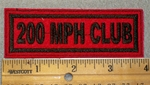 200 MPH Club - Black Lettering - Red Background - Embroidery Patch