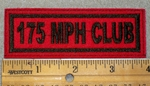 175 MPH Club - Black Lettering - Red Background - Embroidery Patch