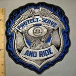 Protect Serve And Ride Police Badge - Large Back Patch - Embroidery Patch