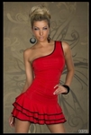 Red Off Shoulder With Ruffle Bottom Trimmed In Black - Bike Rally Club Wear Dress
