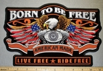 American Eagle With V-Twin Engine - Born To Be Free -  Back Patch - Embroidery Patch