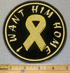 I Want Him Home With Yellow Ribbon - Round Patch - Embroidery Patch