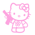 Kitty with pistol
