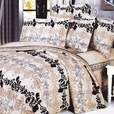 [Beige Brown Classic] 100% Cotton 4PC Comforter Set (Twin Size)