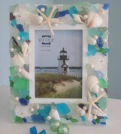 Sea Glass and Seashell Frame, 5x7