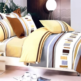 [Brown Abstract] 100% Cotton 4PC Duvet Cover Set (Queen Size)