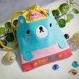 [Bubi Bear] Embroidered Applique Fabric Art Draw String Bag / Drawstring Pouch (6.7*8.5)