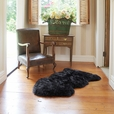 Premium Single Longwool Rug - Black