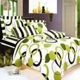 [Artistic Green] 100% Cotton 3PC Mini Comforter Cover/Duvet Cover Set (Queen Size)