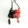 [Black Cat & Red Rabbit] - Cell Phone Charm Strap / Camera Charm Strap / Handbags Charms (Set of 2)