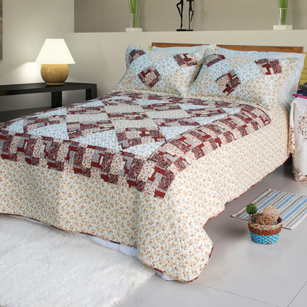 [Fantasy Flowers] Cotton 3PC Floral Vermicelli-Quilted