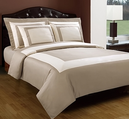 Full/Queen Beige/Ivory Hotel 5-PC Duvet cover set