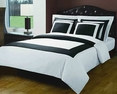 Twin White/Black Hotel 3-Pc Duvet Cover Set