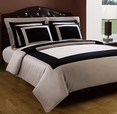 TWIN Taupe/Black Hotel 3-PC Duvet cover set