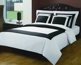 Full/Queen White/Black Hotel 5-PC Duvet cover set