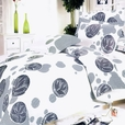 [White Gray Marbles] 100% Cotton 4PC Duvet Cover Set (Queen Size)