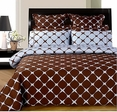 Chocolate and Blue 8PC Bloomingdale Duvet covers & sheet Set(Calking Size)