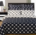 Navy Blue and White 8PC Bloomingdale Duvet covers and sheet set(Calking Size)