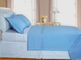 Lit-Blue Checkered Coverlet Set 3PC Egyptian cotton 400 Thread count(King/Calking)