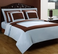 TWIN Blue/Chocolate Hotel 3-PC Duvet cover set