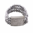Shimmering Silver Matal Faceted Crystals Diamond Silver Bracelet Stretchable Stylish