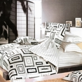 [Black & White] 100% Cotton 4PC Comforter Set (Twin Size)