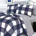 [Navy & White] 100% Cotton 5PC Comforter Set (Full Size)