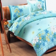 [Turquoise Flowers] 100% Cotton 4PC Comforter Set (Twin Size)