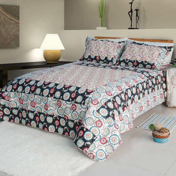 Cozy Bedroom Decor Blue Twin Size Bedroom Sets Violet Colour Bedroom Unique King Bedroom Sets: [Alice And Flower] Cotton 3PC Floral Vermicelli-Quilted