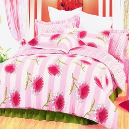 [Pink Chrysanthemum] 100% Cotton 4PC Duvet Cover Set (Queen Size)