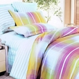 [Golden Plaid] 100% Cotton 4PC Duvet Cover Set (King Size)