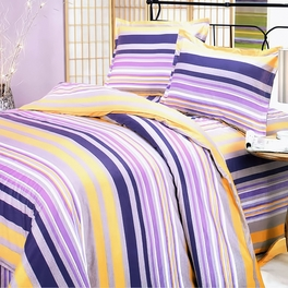 [Purple Yellow Stripes] 100% Cotton 3PC Duvet Cover Set (Twin Size)