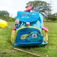 [Blue Bear] Embroidered Applique Kids Fabric Art School Backpack / Outdoor Backpack (8.7*10.2*4.3)