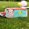 [Rabbit & Carrot] Embroidered Applique Pencil Pouch Bag / Cosmetic Bag / Carrying Case (7.3*3.3*1.4)