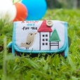 [A Windy Day] Embroidered Applique Fabric Art Trifold Wallet Purse / Card Holder (4.7*3.1)