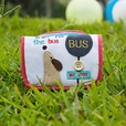 [Wait For The Bus] Embroidered Applique Fabric Art Trifold Wallet Purse / Card Holder (4.7*3.1)
