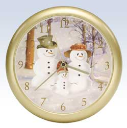Snow Family Christmas Clock - 8 inch