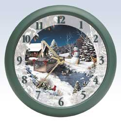 Giana Winter Scene Christmas Clock - 8 inch
