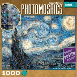"Vincent Van Gogh - ""Starry Night"" 1000 Piece Jigsaw Puzzle Photomosaic by Robert Silver"