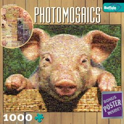 Pig 1000 Piece Jigsaw Puzzle Photomosaic by Robert Silvers