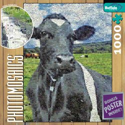 Cow 1000 Piece Jigsaw Puzzle Photomosaic by Robert Silvers