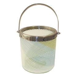 Striped Glass Ice Bucket - Retro Green