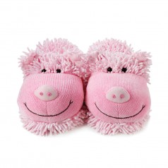 Fuzzy Friends Plush Pink Pig Slippers - Adult Size