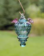 Glass Lantern Hummingbird Feeder Aqua