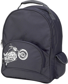 Gray Motorcycle Full Size School Backpack by Four Peas
