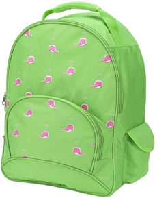 Pink Whale Lime Full Size School Backpack by Four Peas