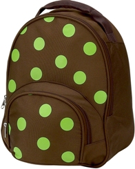 Lime Polka Dot Brown Toddler Preschool Backpack by Four Peas