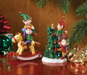 2 Elves with Rocking Horse  and 2 Elves with Tree Jingle Elves Totems-Retired